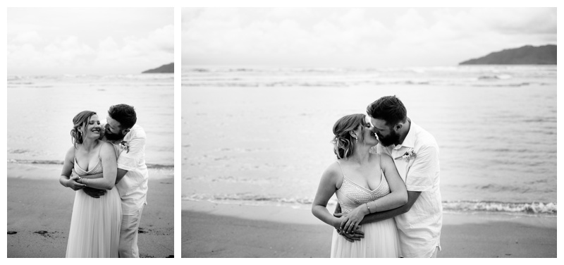 Black and white photos of bride and groom hugging on the beach at their tropical beach wedding in Costa Rica. Beautiful Adrienna Papell wedding dress. Photographed by Kristen M. Brown, Samba to the Sea Photography.