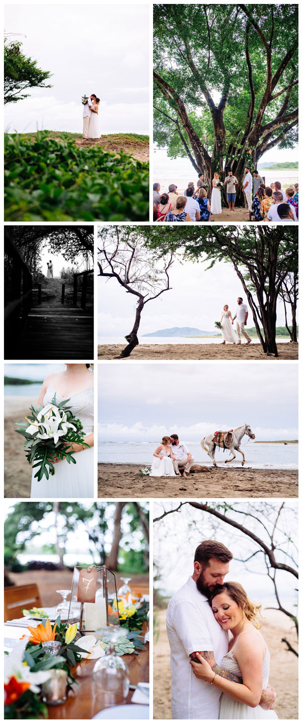 Beach wedding at Pangas Beach Club in Tamarindo, Costa Rica. Photographed by Kristen M. Brown, Samba to the Sea Photography.