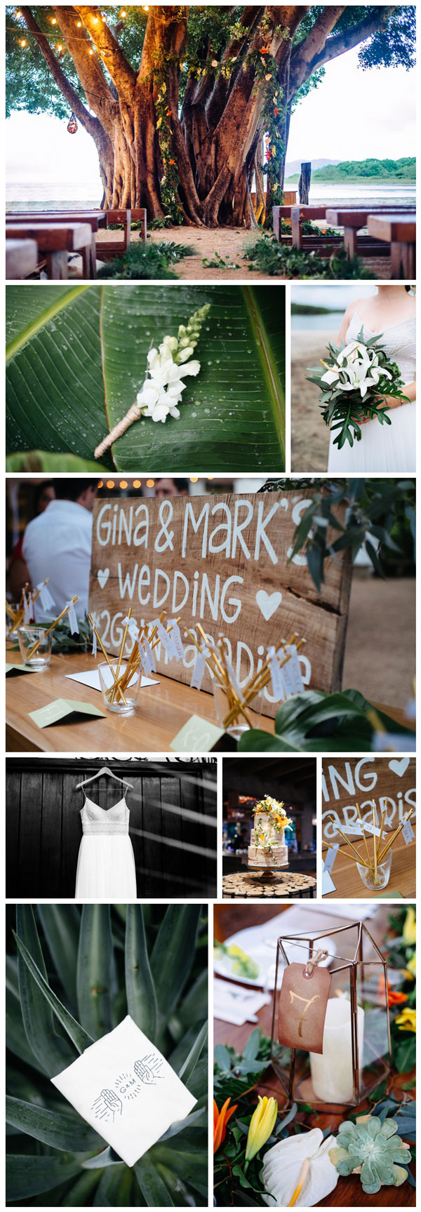 Tropical wedding at Pangas Beach Club in Tamarindo, Costa Rica. Photographed by Kristen M. Brown, Samba to the Sea Photography.