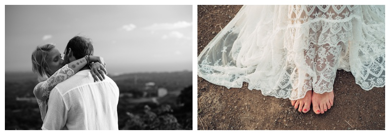 Magical hilltop Costa Rica elopement. Bride is wearing a boho dress by Spell Designs. Photographed by Kristen M. Brown, Samba to the Sea Photography.