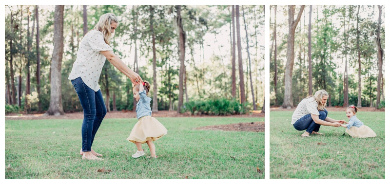 Mother and daughter playing Ring Around the Rosie at the park during family photos in Savannah. Photographed by Kristen M. Brown, Samba to the Sea Photography.