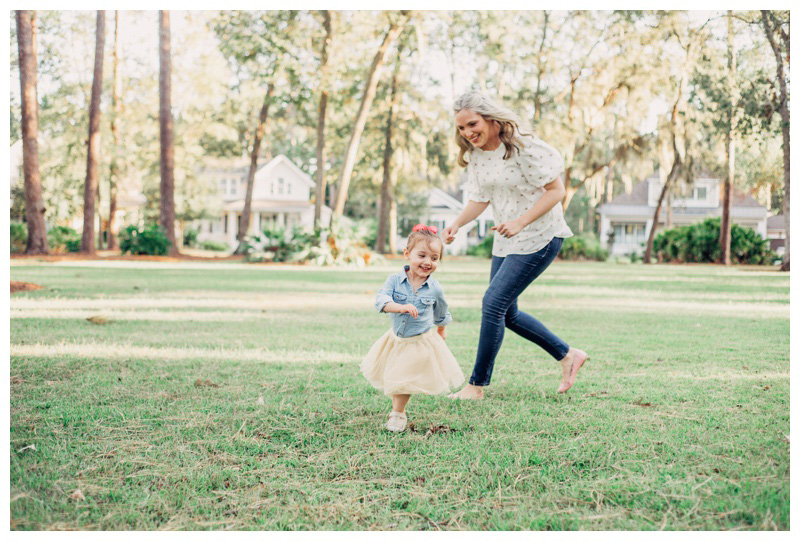 Mother and daughter playing in the park at The Landings in Savannah Georgia. Photographed by Kristen M. Brown, Samba to the Sea Photography.