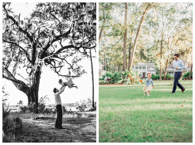 Father throwing her daughter in the air during family photos at The Landings in Savannah. Photographed by Kristen M. Brown, Samba to the Sea Photography.