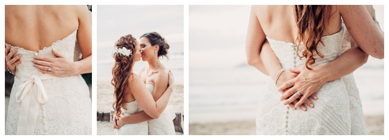 Brides kissing on the beach in Tamarindo Costa Rica. Photographed by Kristen M. Brown, Samba to the Sea Photography.