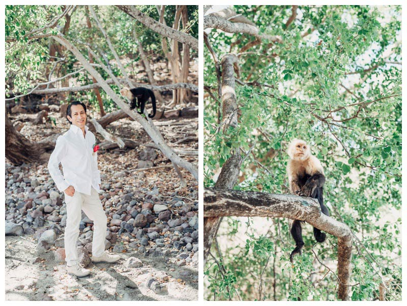 Groom standing with a Capuchin monkey at the Andaz Papagayo. Magical sailboat elopement in Costa Rica. Photographed by Kristen M. Brown, Samba to the Sea Photography.