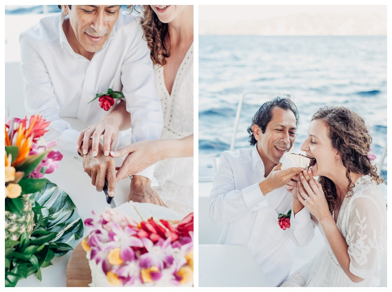 Bride and groom cutting their tropical cake. Magical sailboat elopement in Costa Rica. Photographed by Kristen M. Brown, Samba to the Sea Photography.