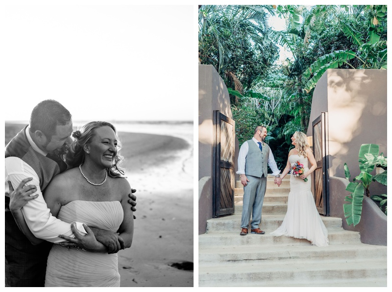 Wedding couple at Cala Luna Boutique Hotel in Playa Langosta. Beach elopement in Tamarindo Costa Rica. Photographed by Kristen M. Brown, Samba to the Sea Photography.