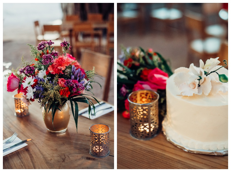 Flowers and cake for wedding at Pangas Beach Club. Beach elopement in Tamarindo Costa Rica. Photographed by Kristen M. Brown, Samba to the Sea Photography.
