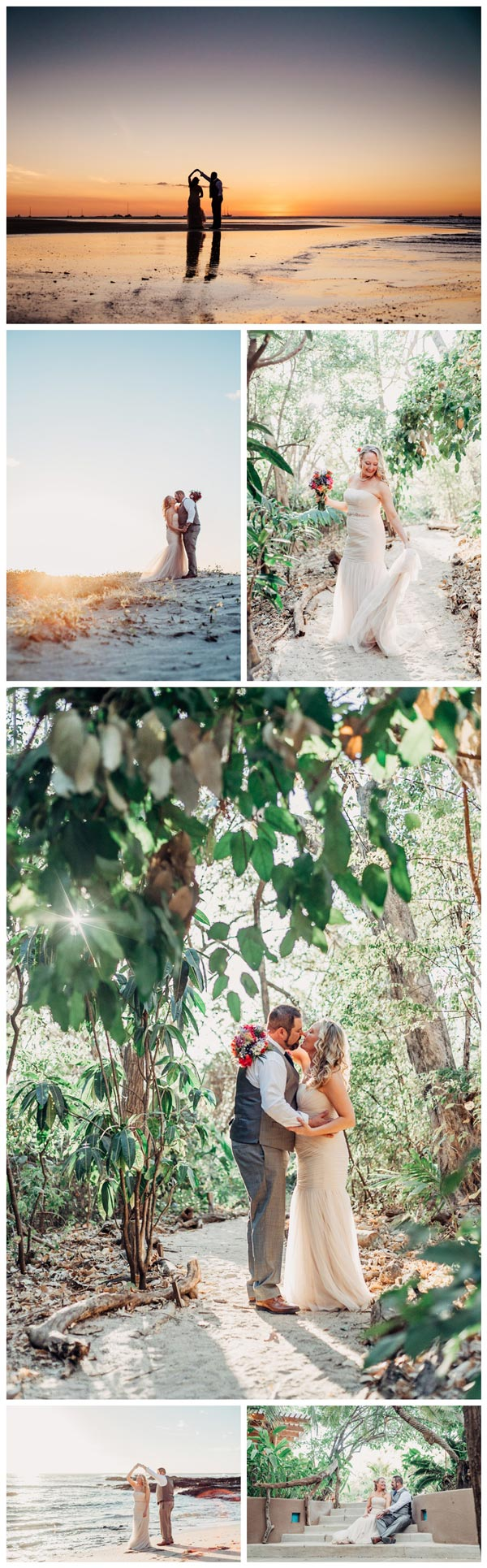 Beach elopement in Tamarindo Costa Rica. Photographed by Kristen M. Brown, Samba to the Sea Photography.