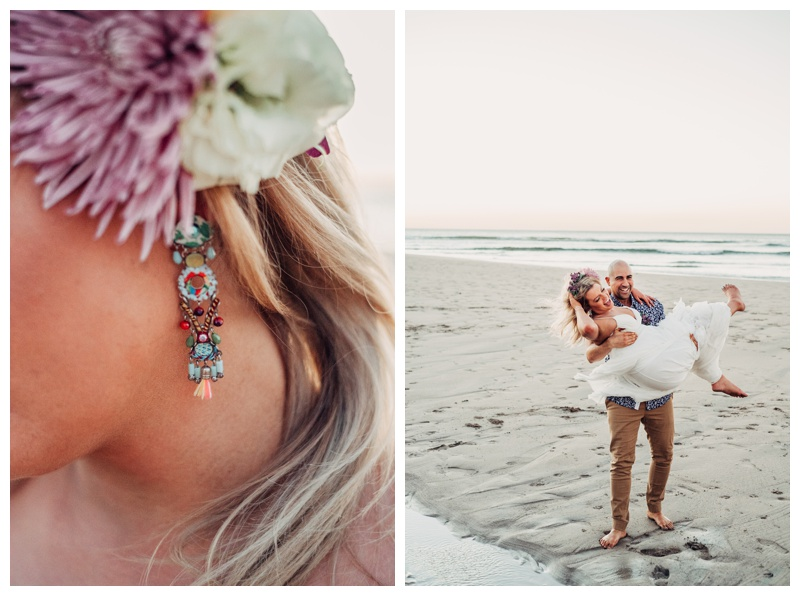 Boho elopement in Tamarindo Costa Rica. Earrings by Ayala Bar. Photographed by Kristen M. Brown, Samba to the Sea Photography.