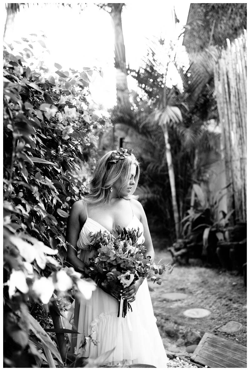 Bridal portrait at the Beach Bungalows in Tamarindo Costa Rica. Photographed by Kristen M. Brown, Samba to the Sea Photography.