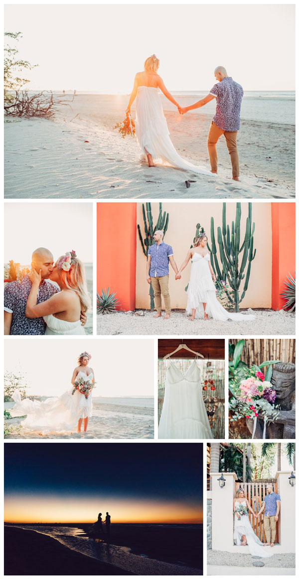 Boho elopement in Tamarindo Costa Rica. Wedding dress by Cristalle. Photographed by Kristen M. Brown, Samba to the Sea Photography.