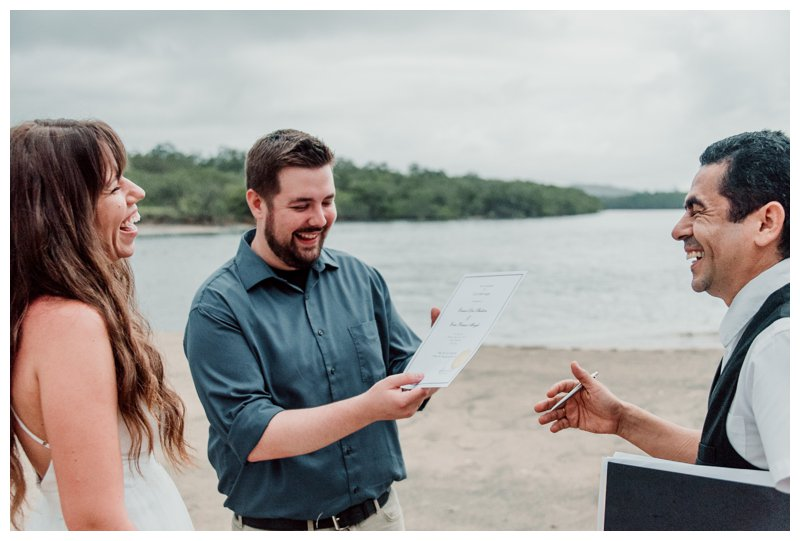 Wedding ceremony on the beach in Tamarindo Costa Rica. Beach elopement in Costa Rica. Photographed by Kristen M. Brown, Samba to the Sea Photography.