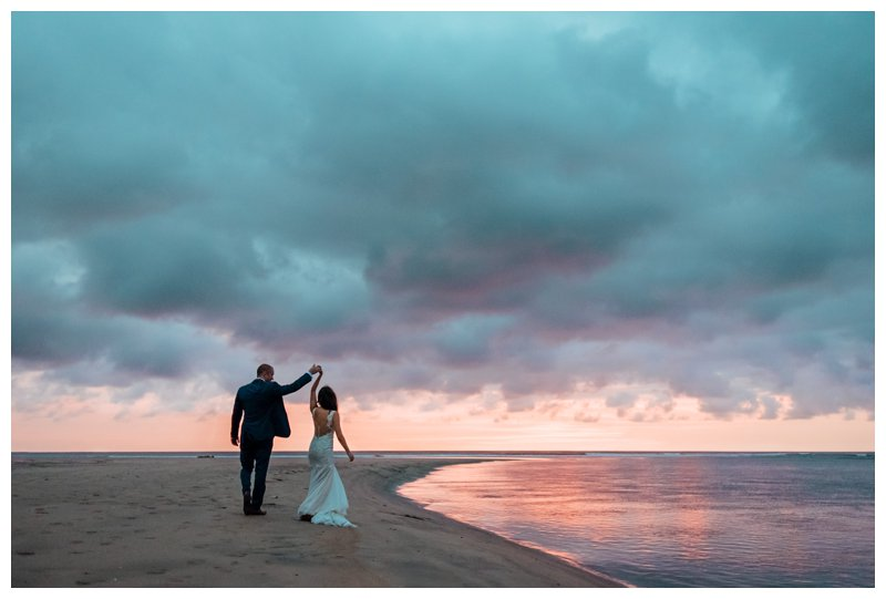Bride and groom on the beach during sunset in Costa Rica. Photographed by Kristen M. Brown, Samba to the Sea Photography.