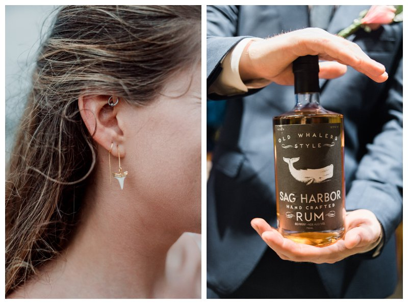 Sag Harbor Rum and shark tooth earring. Beach wedding in Tamarindo Costa Rica. Photographed by Kristen M. Brown, Samba to the Sea Photography.