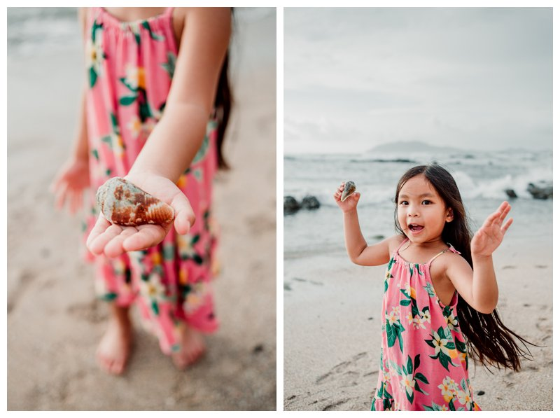 Little girl playing on the beach in Costa Rica. Calu Luna Playa Langosta Costa Rica family photos. Photographed by Kristen M. Brown, Samba to the Sea Photography.