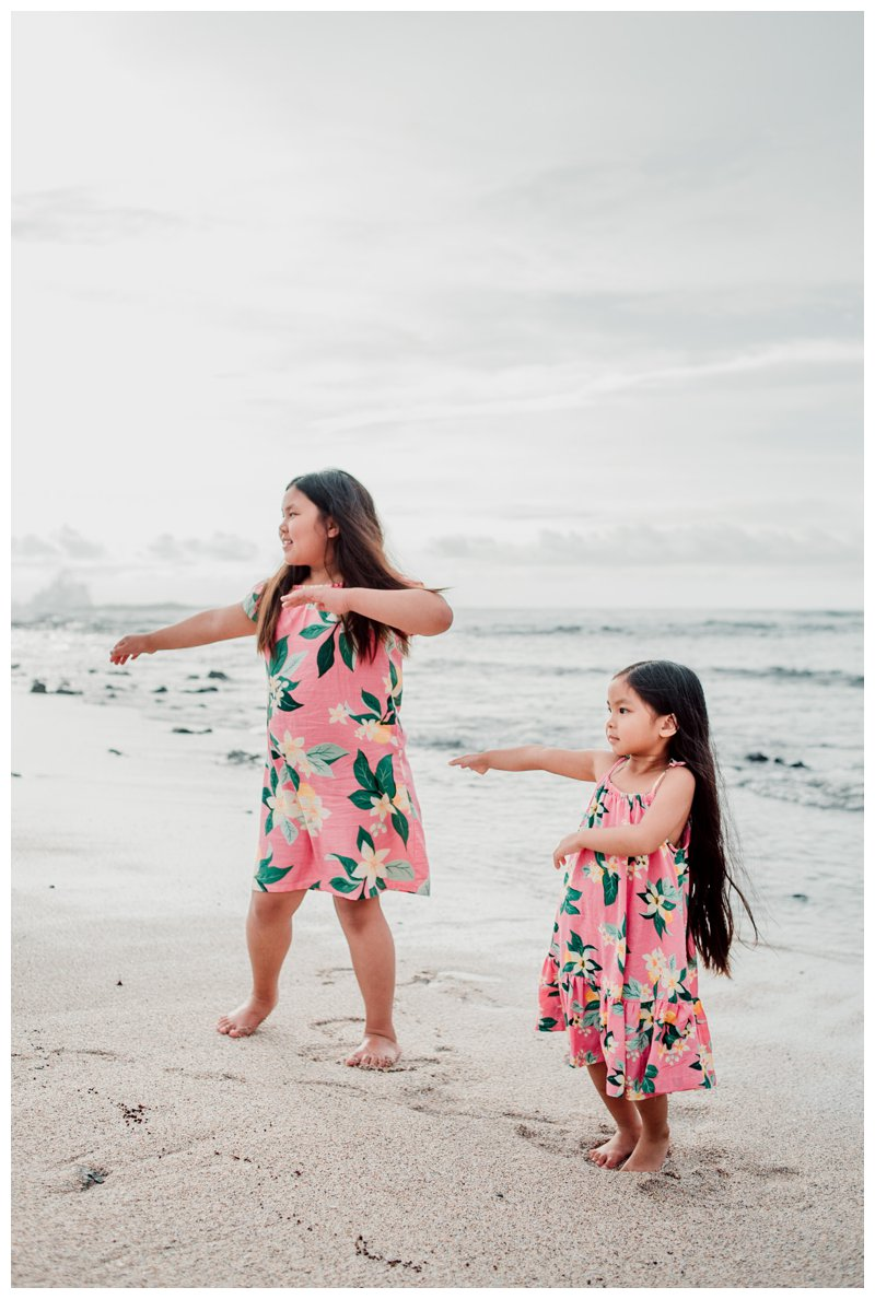 Little girls hula dancing on the beach in Costa Rica. Calu Luna Playa Langosta Costa Rica family photos. Photographed by Kristen M. Brown, Samba to the Sea Photography.