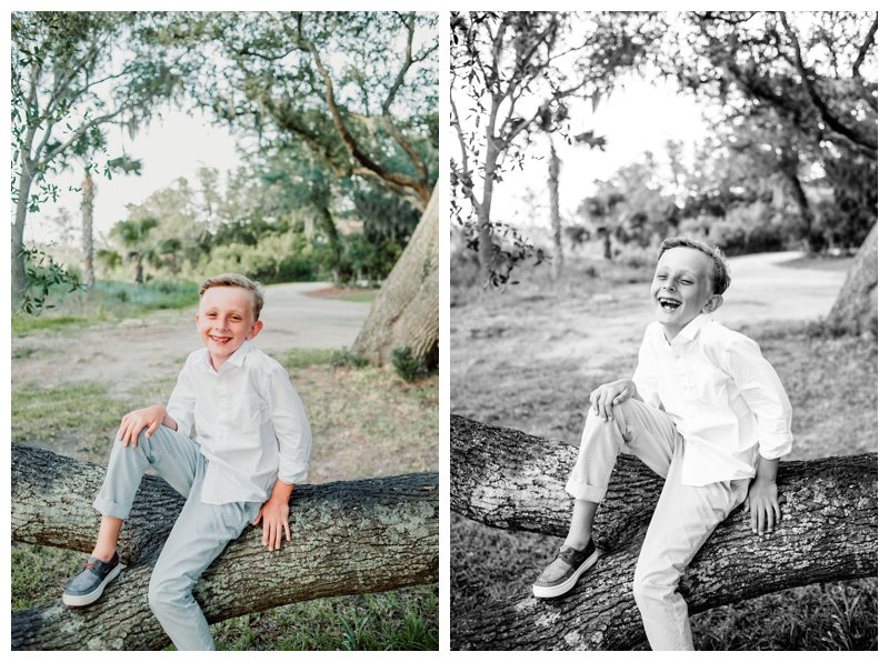 Boy laughing during family photos in Kiawah Island SC. Photographed by Kristen M. Brown, Samba to the Sea Photography.