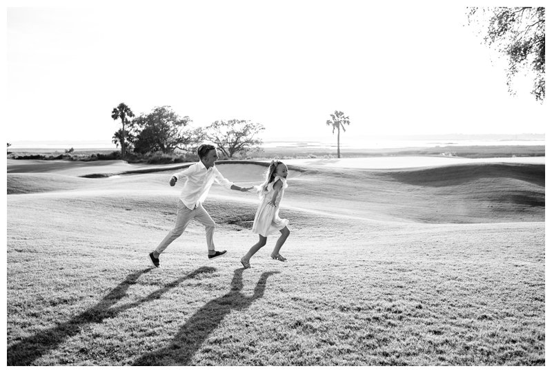 Kids playing tag during family photos in Kiawah Island SC. Photographed by Kristen M. Brown, Samba to the Sea Photography.