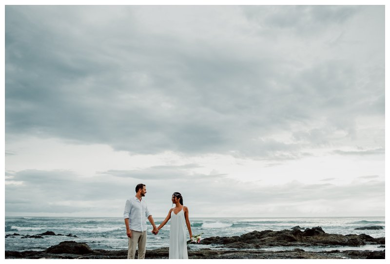 Boho beach elopement in Costa Rica. Photographed by Kristen M. Brown, Samba to the Sea Photography.