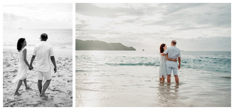 Husband and wife during family photos in Playa Conchal. Photographed by Kristen M. Brown, Samba to the Sea Photography.