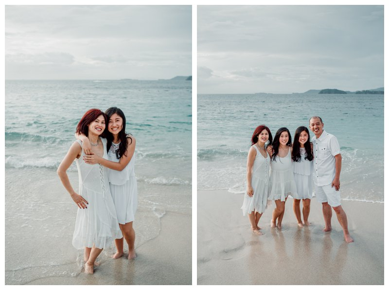 Family photos in Playa Conchal. Photographed by Kristen M. Brown, Samba to the Sea Photography.