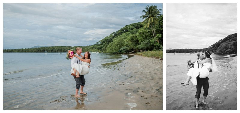 Husband holding his wife during their Tamarindo Costa Rica beach elopement. Photographed by Kristen M. Brown, Samba to the Sea Photography.