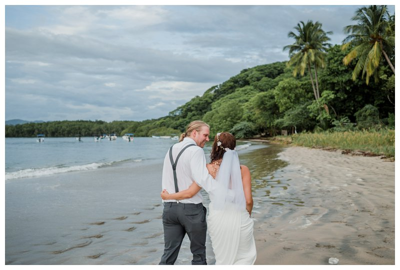 Couple walking on the beach during their Tamarindo Costa Rica beach elopement. Photographed by Kristen M. Brown, Samba to the Sea Photography.