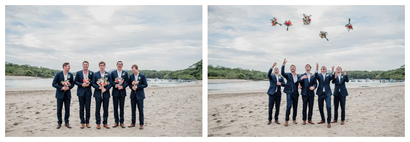 Groom and his groomsmen on the beach at his tropical wedding at Pangas Beach Club in Tamarindo Costa Rica. Photographed by Kristen M. Brown, Samba to the Sea Photography.