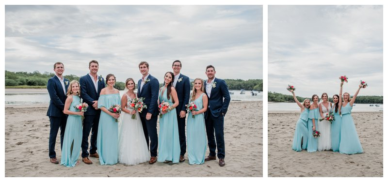 Bridal party on the beach at a tropical wedding at Pangas Beach Club in Tamarindo Costa Rica. Photographed by Kristen M. Brown, Samba to the Sea Photography.