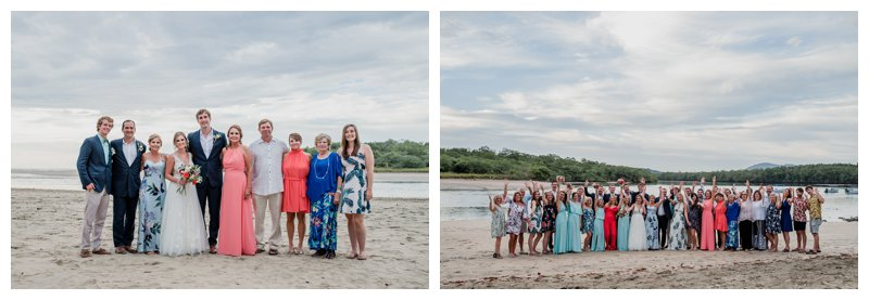 Family photos on the beach at a tropical wedding at Pangas Beach Club in Tamarindo Costa Rica. Photographed by Kristen M. Brown, Samba to the Sea Photography.
