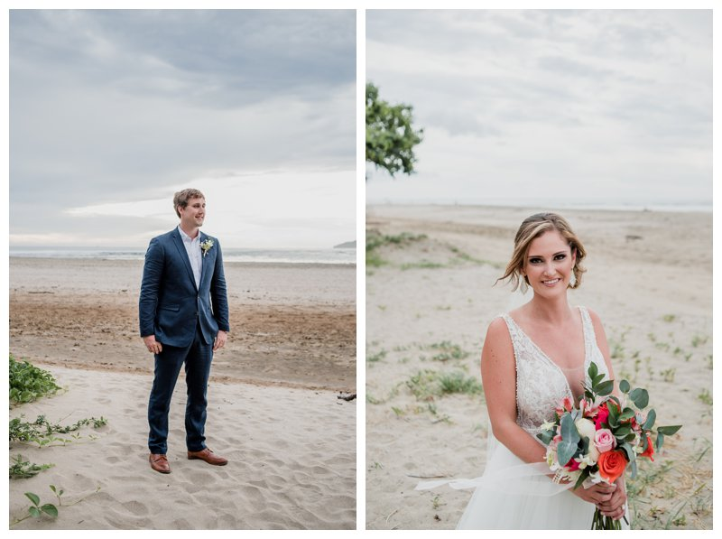 Bride and groom portraits on the beach at their tropical wedding at Pangas Beach Club in Tamarindo Costa Rica. Photographed by Kristen M. Brown, Samba to the Sea Photography.