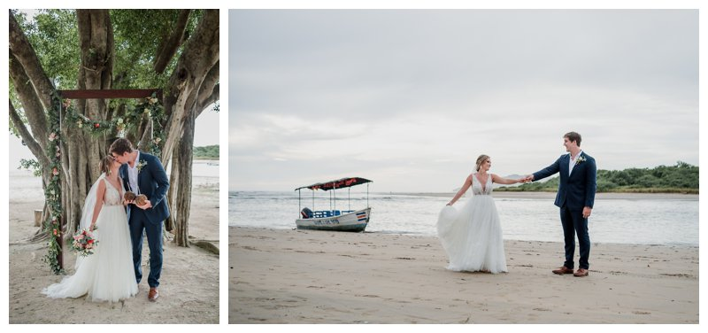 Bride and groom on the beach after their ceremony of tropical wedding at Pangas Beach Club in Tamarindo Costa Rica. Photographed by Kristen M. Brown, Samba to the Sea Photography.