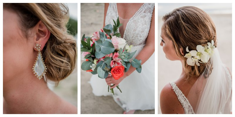 Bridal details at tropical wedding at Pangas Beach Club in Tamarindo Costa Rica. Photographed by Kristen M. Brown, Samba to the Sea Photography.