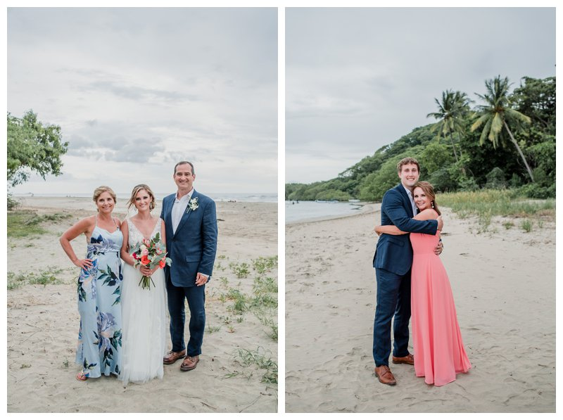 Family photos at tropical wedding at Pangas Beach Club in Tamarindo Costa Rica. Photographed by Kristen M. Brown, Samba to the Sea Photography.