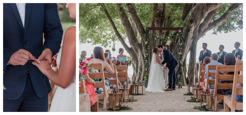 Bride and groom's first kiss during their tropical wedding at Pangas Beach Club in Tamarindo Costa Rica. Photographed by Kristen M. Brown, Samba to the Sea Photography.