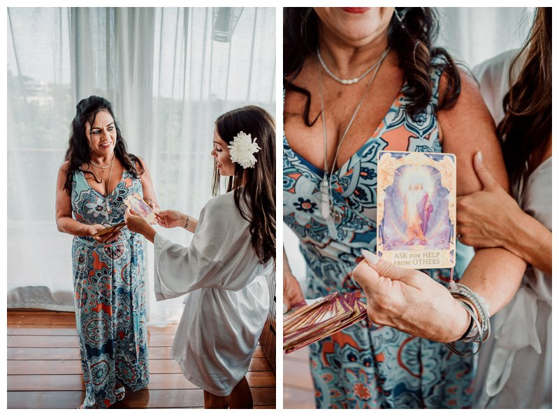 Bride pulling a Tarot card before her wedding in Tamarindo Costa Rica. Photographed by Kristen M. Brown, Samba to the Sea Photography.