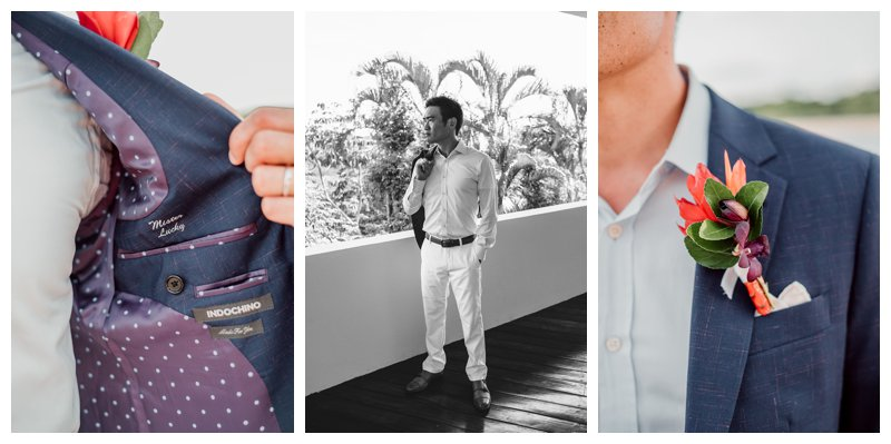 Groom and his custom Indochino jacket before his destination wedding in Costa RIca. Photographed by Kristen M. Brown, Samba to the Sea Photography.