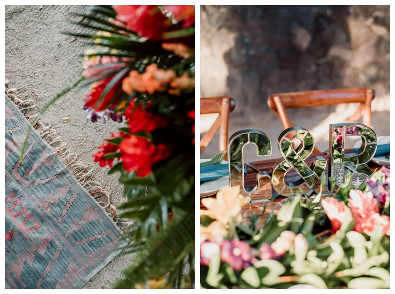Tropical flowers and vintage Turkish Kilim rug at beach wedding in Tamarindo Costa Rica at Pangas Beach Club. Photographed by Kristen M. Brown, Samba to the Sea Photography.