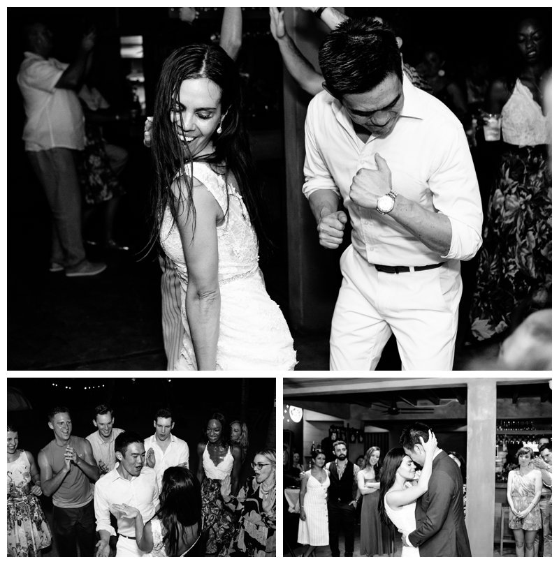 Bride and groom dancing at their beach wedding in Tamarindo Costa Rica at Pangas Beach Club. Photographed by Kristen M. Brown, Samba to the Sea Photography.