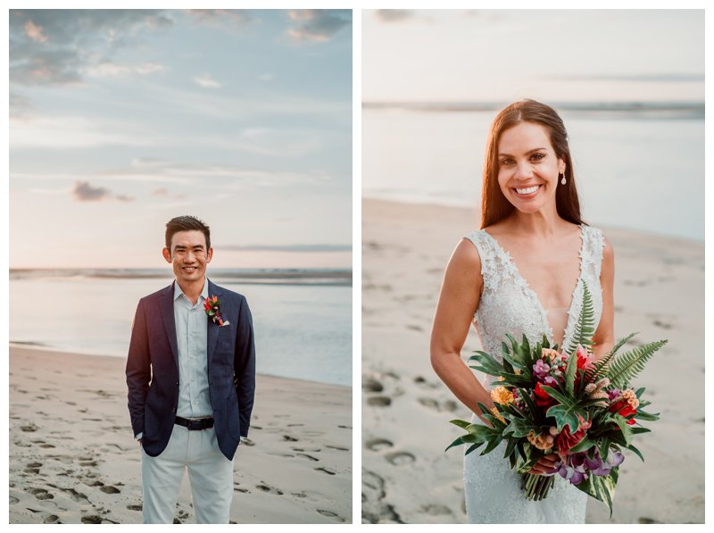 Bride and groom on the beach at their beach wedding in Tamarindo Costa Rica at Pangas Beach Club. Photographed by Kristen M. Brown, Samba to the Sea Photography.