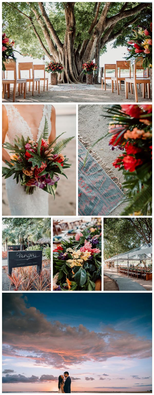 Tropical beach wedding in Tamarindo Costa Rica at Pangas Beach Club. Photographed by Kristen M. Brown, Samba to the Sea Photography.