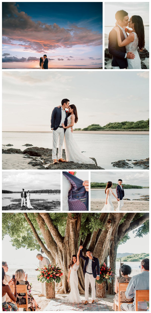 Bride and groom at their beach wedding in Tamarindo Costa Rica at Pangas Beach Club. Photographed by Kristen M. Brown, Samba to the Sea Photography.