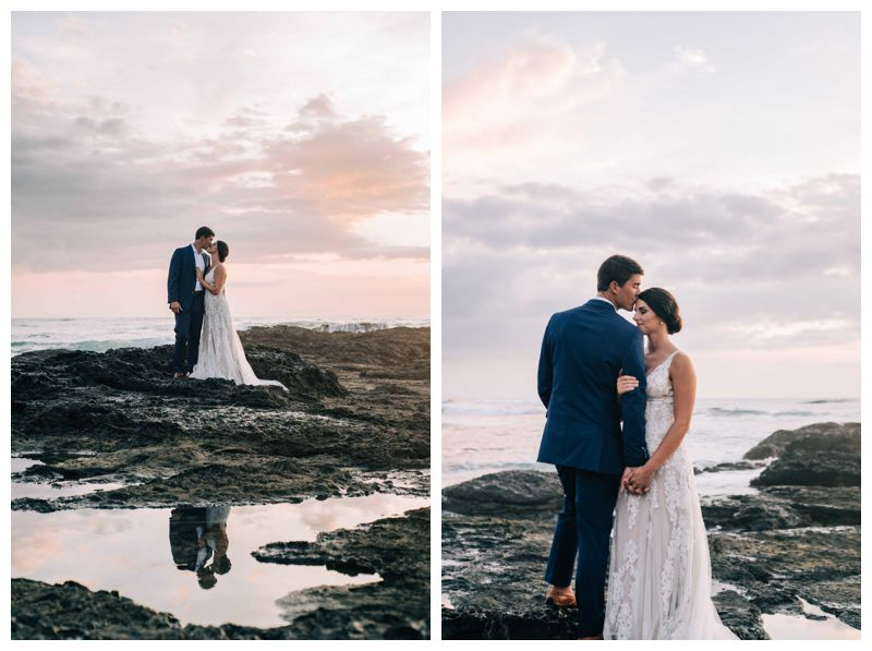 Bride and groom on the beach during a pretty sunset after their beach wedding in Tamarindo Costa Rica at Langosta Beach Club photographed by Kristen M. Brown, Samba to the Sea Photography.