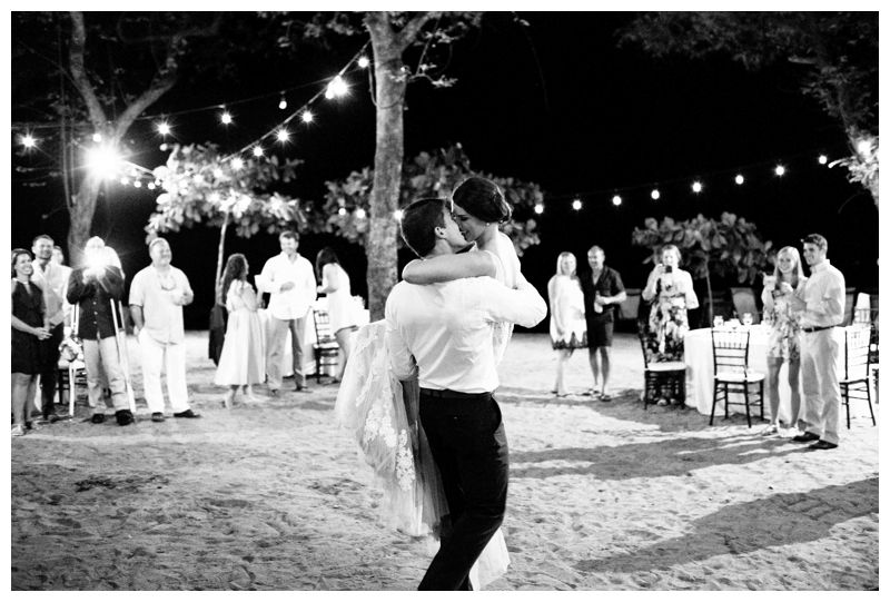 Bride and groom first dance. Beach wedding in Tamarindo Costa Rica at Langosta Beach Club photographed by Kristen M. Brown, Samba to the Sea Photography.