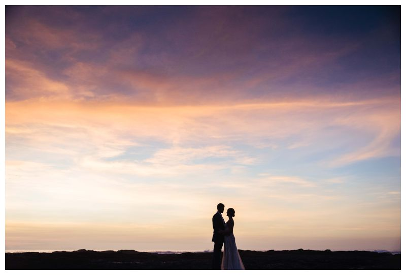 Bride and groom on the beach during sunset in Costa Rica. Beach wedding in Tamarindo Costa Rica at Langosta Beach Club photographed by Kristen M. Brown, Samba to the Sea Photography.