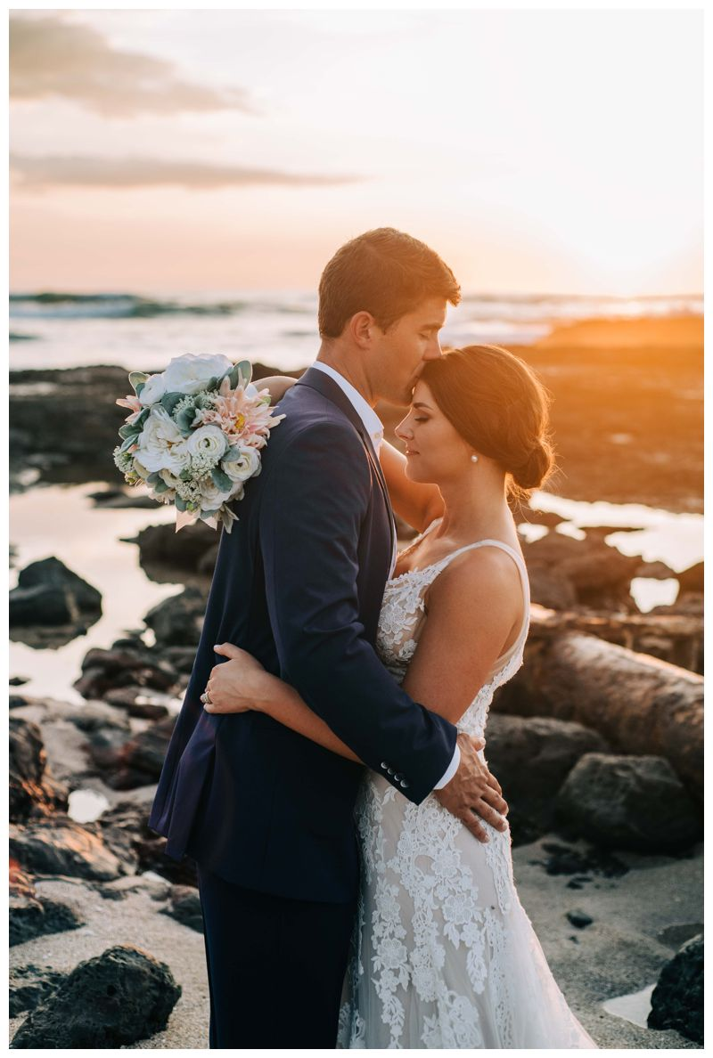 Groom kissing his bride on the beach during sunset in Costa Rica. Beach wedding in Tamarindo Costa Rica at Langosta Beach Club photographed by Kristen M. Brown, Samba to the Sea Photography.