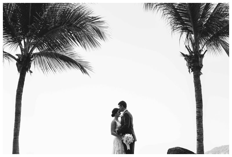 Groom kissing his bride under palm trees in Costa Rica. Beach wedding in Tamarindo Costa Rica at Langosta Beach Club photographed by Kristen M. Brown, Samba to the Sea Photography.