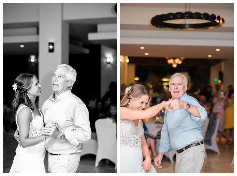 Bride dancing with her dad at Reserva Conchal. Beach wedding in Playa Conchal Costa Rica photographed by Kristen M. Brown, Samba to the Sea Photography.