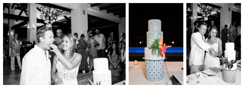 Bride and groom cutting their cake at Reserva Conchal. Beach wedding in Playa Conchal Costa Rica photographed by Kristen M. Brown, Samba to the Sea Photography.